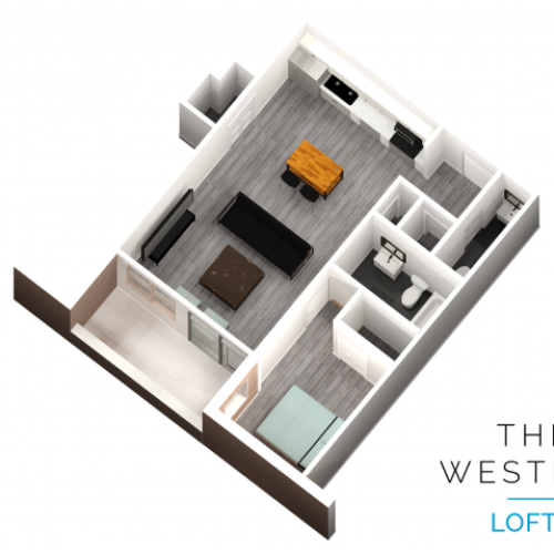 1 bedroom 1.5 bathroom floor plan at The Western