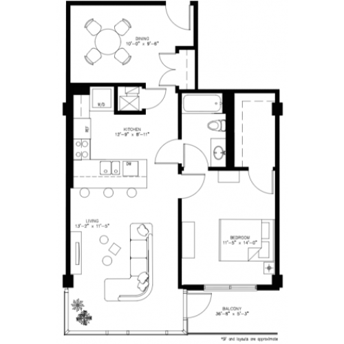 1 Bed 1 Bath/ Den - 881