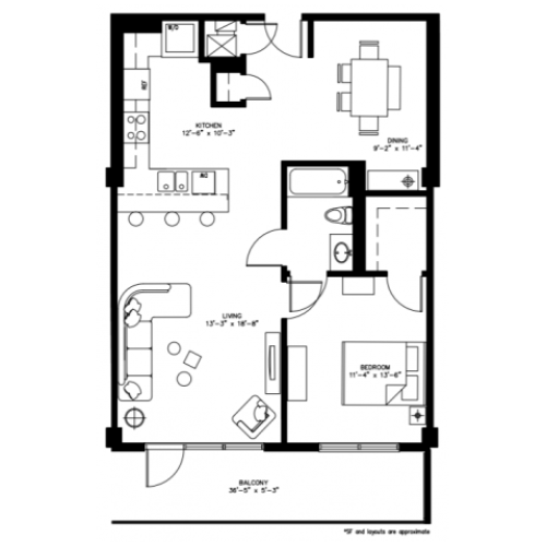 1 Bed 1 Bath/Den - 894