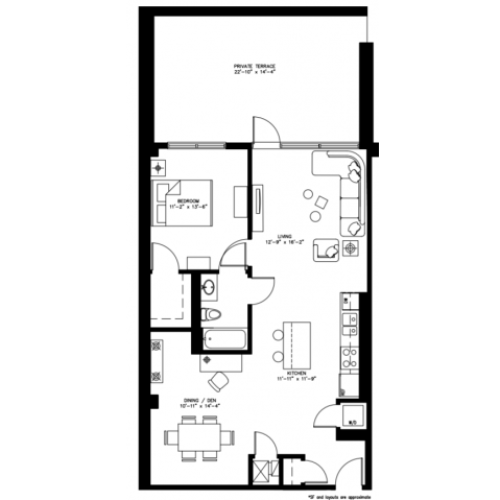 1 Bed 1 Bath/Den - 986