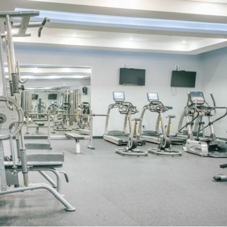 The Renegade, interior, fitness center, weight machines, tvs, mirrors, elliptical, treadmills
