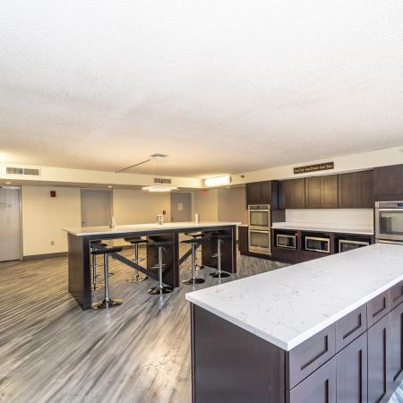 The Renegade, interior, common room kitchen, island seating, large window, tv, dark cabinets, stainless steel appliances,