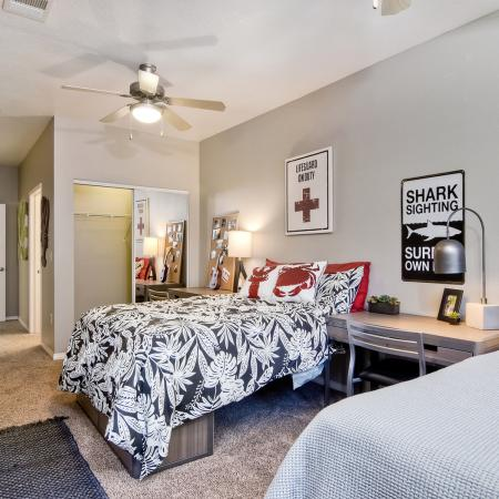 Model apartment showing double occupancy option with two beds and two desks
