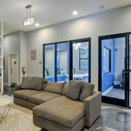 Overlooking resident TV lounge with private and group enclosed study rooms immediately behind it