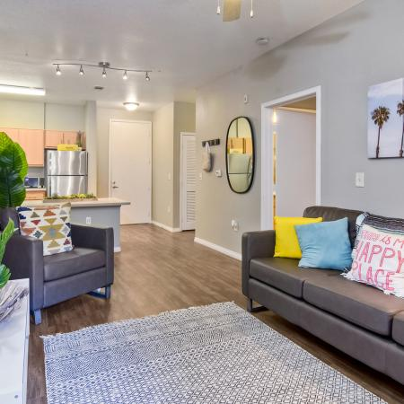 Model Apartment living room with couch on the right wall and TV and chair on the left wall.