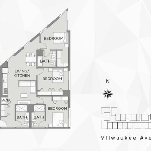1 Bed w/ Private Bath in 3 Bed Apt - C2