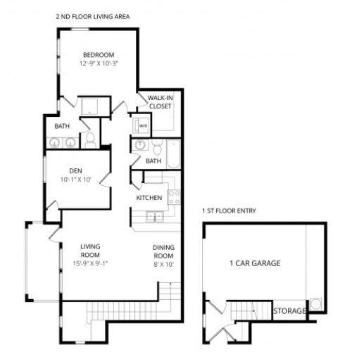 One Bedroom Two Bath wDen