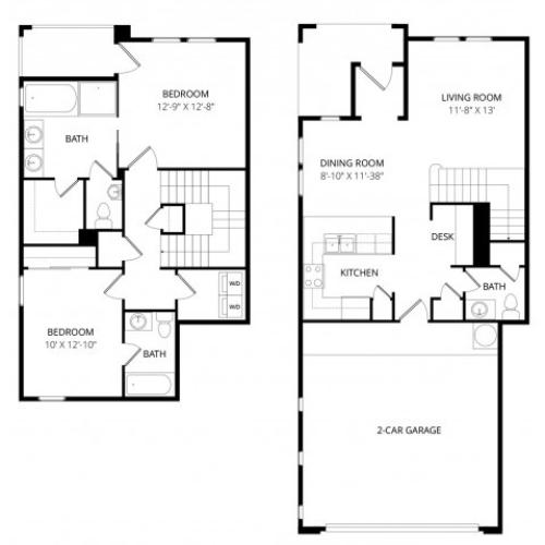 Two Bedroom Two and Half Bath