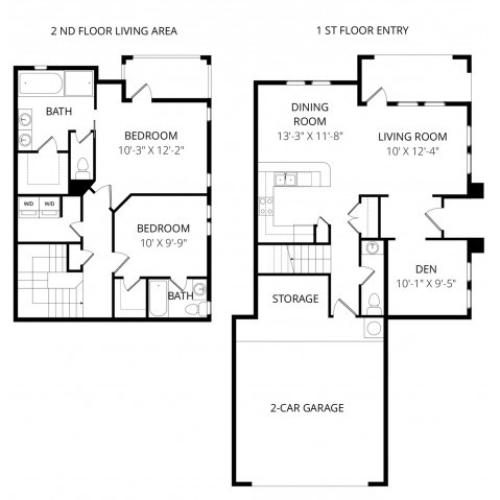 Two Bedroom Two and Half Bath w Den