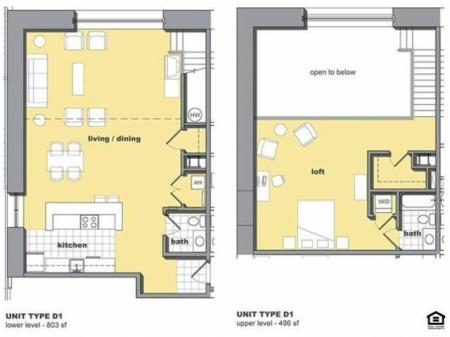 1 Bedroom Unit D1