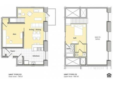 1 Bedroom - Den Unit F2