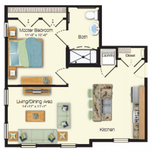 Floor plan drawing of a one bed one bath 609 sq ft apartment