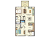 Floor plan drawing of a two bed two bath 920 sq ft apartment