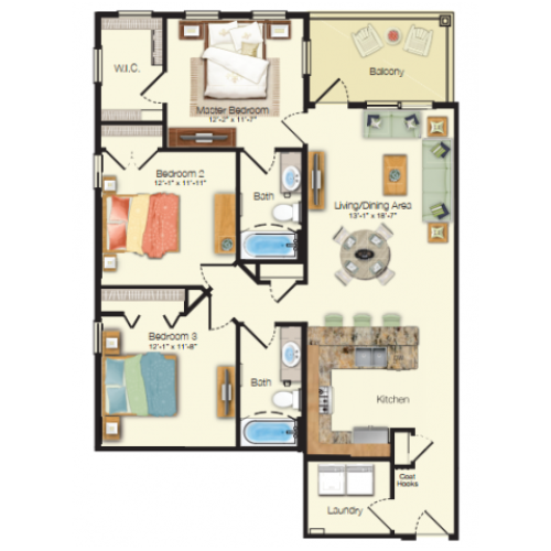 Floor plan drawing of a three bed two bath 1,196 sq ft apartment