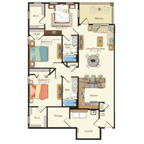 Floor plan drawing of a three bed two bath 1,374 sq ft apartment