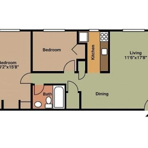 2 Bedroom, 1 Bathroom floor plan