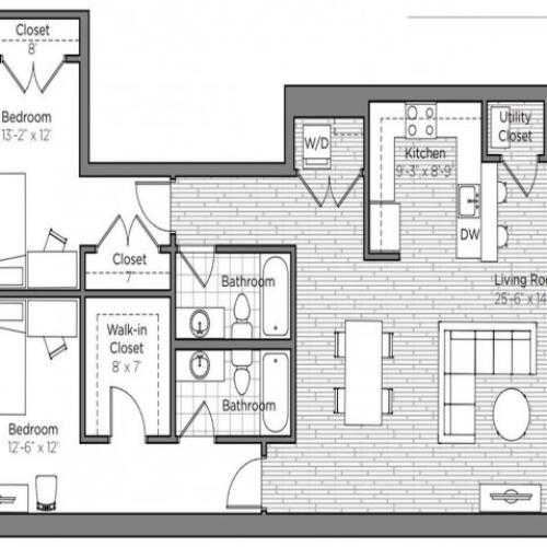 Floor Plan of a 2 bedroom 2 bathroom apartment