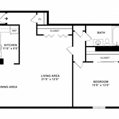1BR/1BA Plus Floorplan