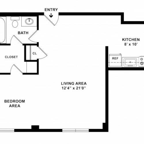 575 sq ft 1BR/1BA Standard Floorplan