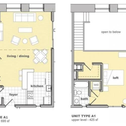 1 bedroom 1.5 bathroom floorplan. Living space and kitchen with lofted bedroom upstairs