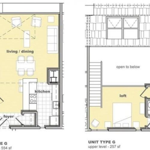 1 bedroom 1 bathroom floorplan. Living space and kitchen with lofted bedroom upstairs
