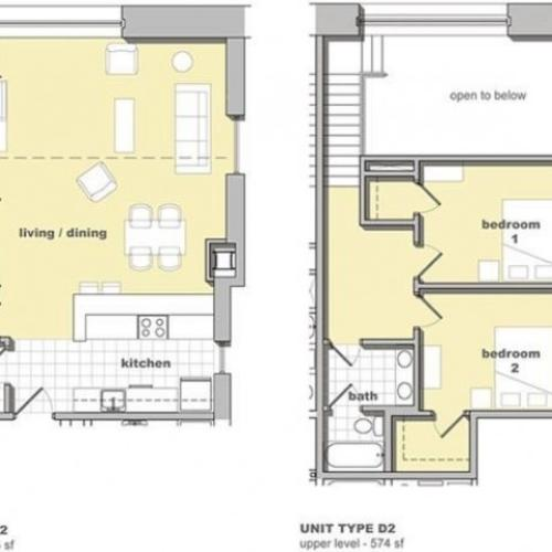 2 bedroom, 1.5 bathroom floorplan. Living space and kitchen with two bedrooms upstairs