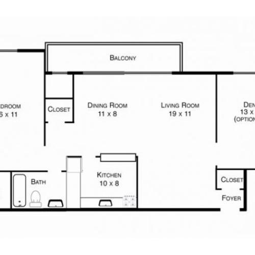 One bedroom with den floor plan. Dining room and living room between the two bedroom and den.