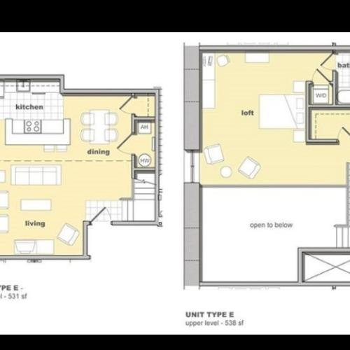 1 bedroom, 1 bathroom floorplan. Living space and kitchen with lofted bedroom upstairs