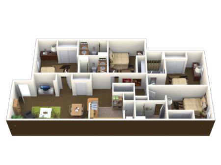 4 Bed 4 Bath Floor Plan   Student Apartments in Lawrence KS