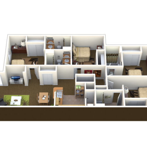 4 Bed 4 Bath Floor Plan | Student Apartments in Lawrence KS