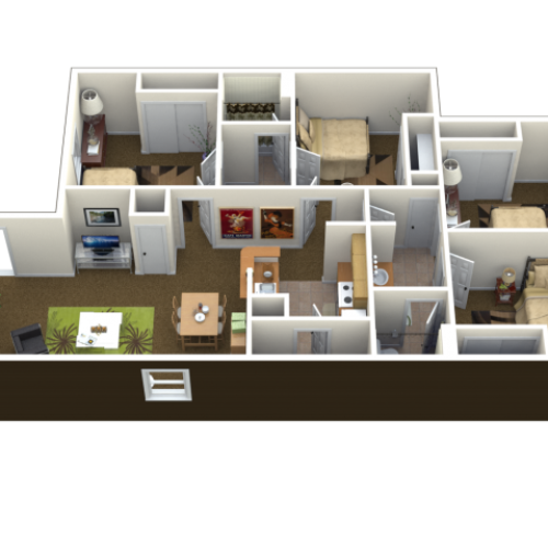 4 Bed 2 Bath Floor Plan | Lawrence KS Student Apartments