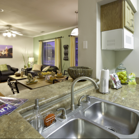 Kitchen and Living Area | University of Kansas Off-Campus Apartments