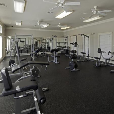 Weight benches and weight machines in the Cayce Cove fitness center
