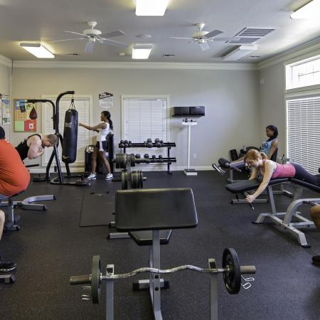 Three women and four men exercising in the Cayce Cove fitness center
