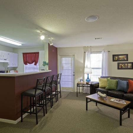Open kitchen and living area at Cayce Cove