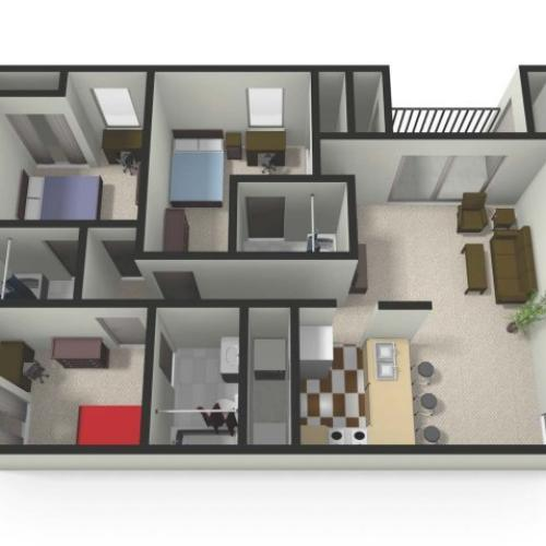 Three BedThree Bath Floor Plan | Three Bedroom Apartments near CMU