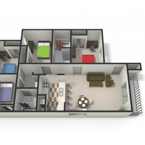 Four BedTwo Bath Floor Plan | Four Bedroom Apartments near CMU