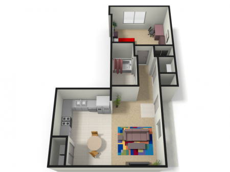 1 Bedroom Floor Plan | WVU Apartments | The Lofts