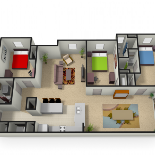 3 Bedroom Floor Plan | Morgantown Wv Apartments | The Lofts