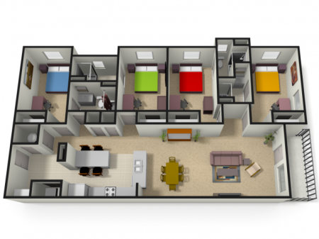 4 Bedroom Floor Plan | WVU Apartments For Students | The Lofts
