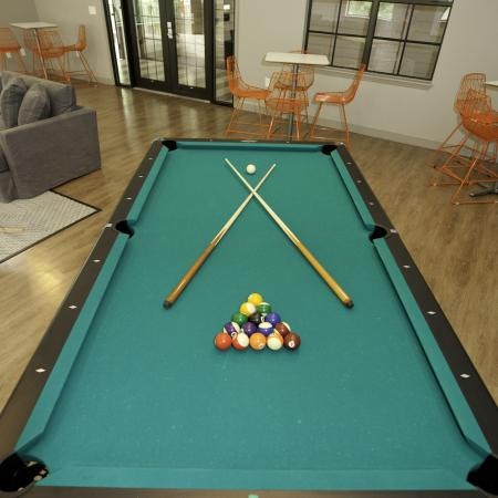 Game room with pool table at The Pavilion on 62nd