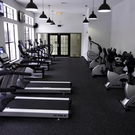 Fitness gym with treadmills and bikes at The Pavilion on 62nd
