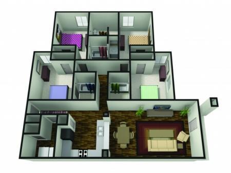 4 Bedroom Floor Plan | BSU Off Campus Housing | The Haven