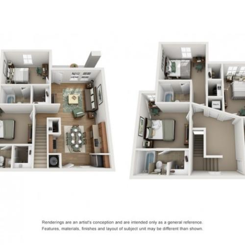 Floor Plan  - 5x5 Townhome | Off Campus Housing UNM | The View ABQ
