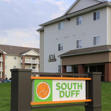 South Duff Apartments exterior signage
