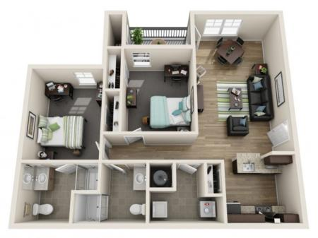 Reserve at Athens 2 bedroom floor plan furnished apartment
