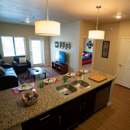 Open kitchen and living area at The Junction at Iron Horse