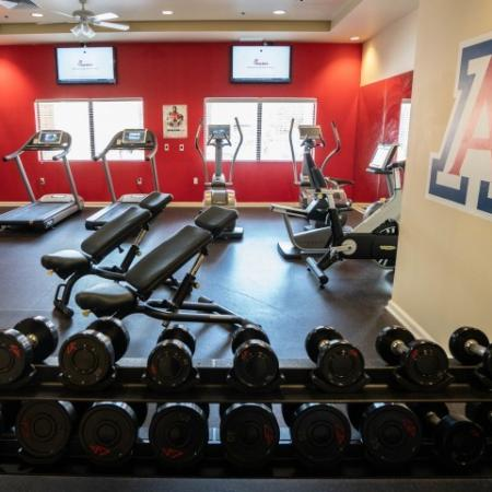 Treadmills, ellipticals, and weights in The Junction at Iron Horse gym