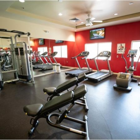 Weight benches, treadmills, and ellipticals at The Junction at Iron Horse
