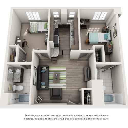 2 Bedroom Floor Plan | ISU Bloomington Off Campus Housing | Smallwood Plaza